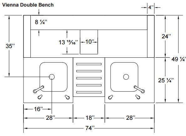 Excellent Vienna Double Bench Spasalon Us Machost Co Dining Chair Design Ideas Machostcouk